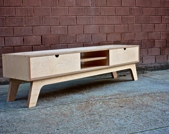 Entertainment Unit with soft closing drawer made from Birch