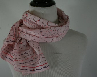 Vintage 1960s Pink Oblong Scarf, Sally Gee, Made in Japan