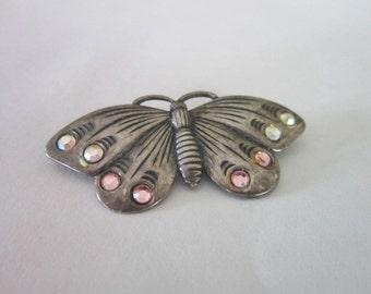 Vintage Sterling Silver & Rhinestone Butterfly Brooch Pin Cute