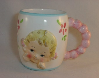 Vintage Ceramic Children's Baby Girl Milk Cup Mug,  Hand Painted - INARCO - Cleveland OH