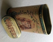 Vintage Daher Lidded Tall Oblong Ginger Wafers Tin MADE IN ENGLAND