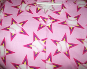 pink top with stars and baseballs size s, med, lg, xlg, 2xl