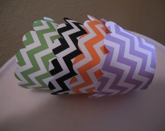 Halloween Cupcake Wrapper  Set of 12  Chevron