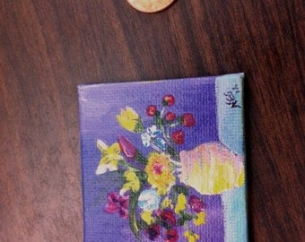 Miniature Flowers in Vase Painting