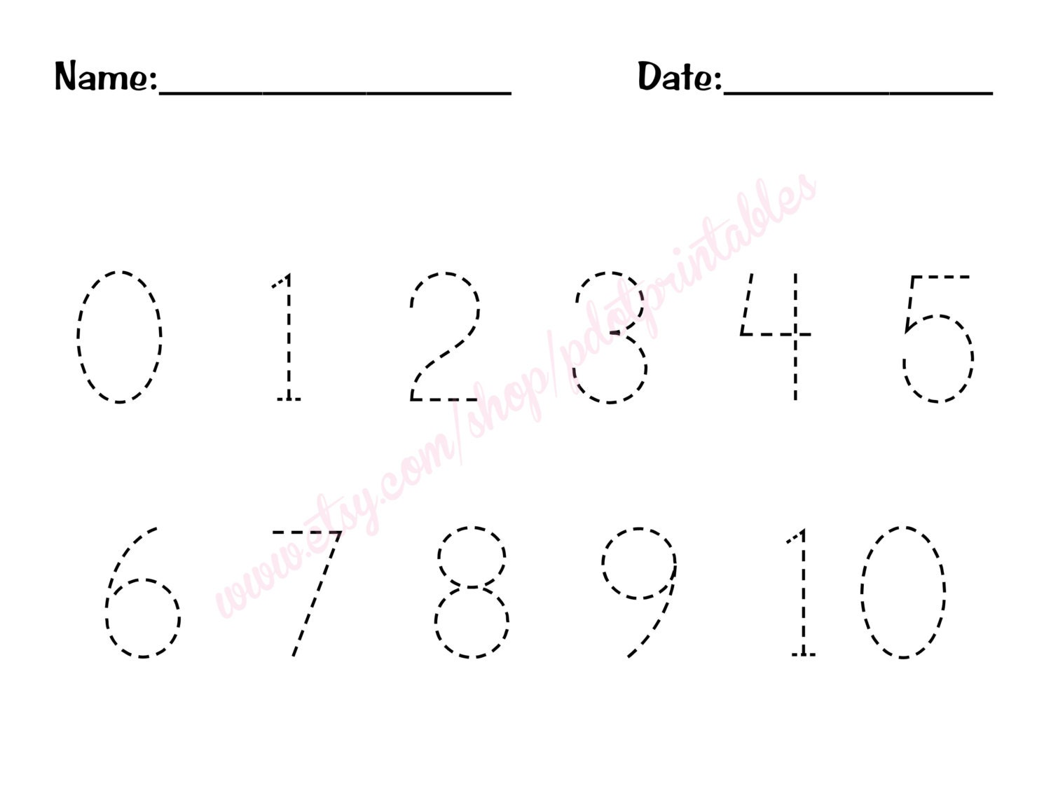 0 10 Number Trace Worksheet PDF Printable By Pdotprintables