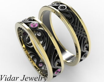 Matching Wedding Band Set,His and Hers Pink Sapphire Wedding Band Set,Unique Matching Wedding Band Set,Black Gold Wedding Band Set,Unique