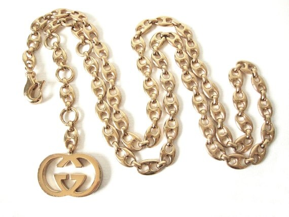 Gucci Logo Gold Gucci Gold Tone Chain Link