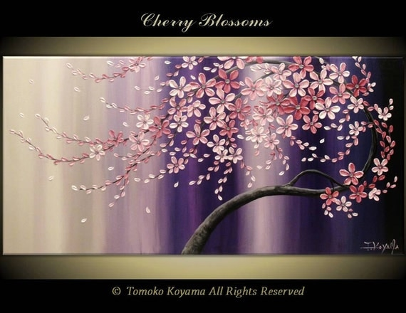 Original modern art painting on gallery wrapped canvas for Canvas painting of cherry blossoms