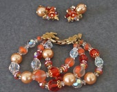 RESERVED For Josefine, Vintage..VENDOME...Bracelet and Earring Set... Tangerine, Peach and Champagne Crystals with Gold Accents