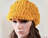 Newsboy Slouchy hat - MUSTARD - womens teen girls - accessories - Wool Woolen - yellow