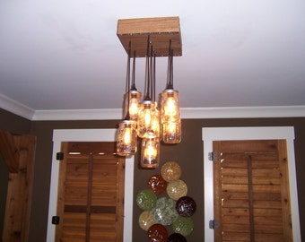 Solid Oak Mason jar chandelier