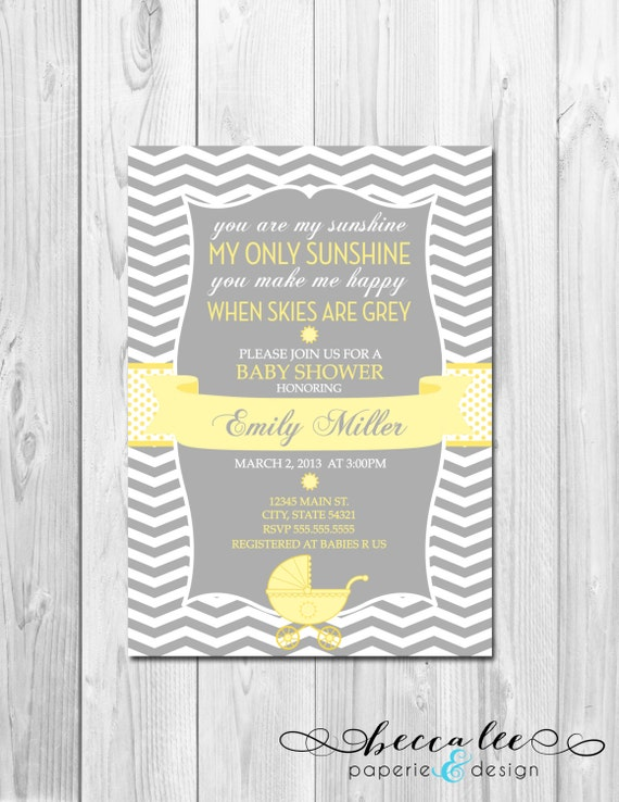 you are my sunshine baby shower invitation chevron stripes diy