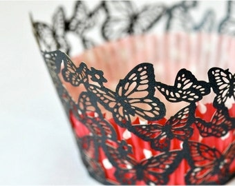 20 Butterflies Laser Cut Cupcake Wrappers Wraps - 15 Colors Available