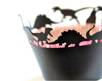 20 Dinosaur Dino Cupcake Wrappers Wraps - 15 Colors Available