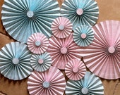 "Set of 12 Large 12"" / 9"" / 6"" DIY Paper Rosettes/Fans - Light Aqua Blue and Light Pink"