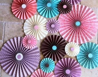 "Set of 15 Large 12"" / 9"" / 6"" Paper Rosettes/Fans - Coral, Purple, Turquoise, Cream and Brown"
