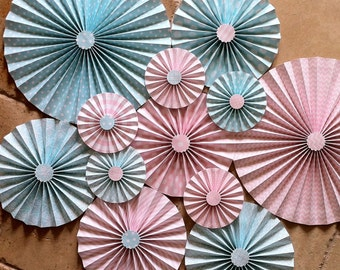 "Set of 12 Large 12"" / 9"" / 6"" Paper Rosettes/Fans - Light Aqua Blue and Light Pink"