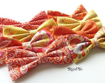 Orange Yellow Bow Ties Orange Floral Bow Ties Orange Wedding Bow Ties Orange Freestyle Bow Tie