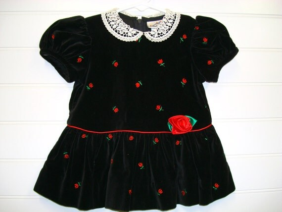Vintage Baby Clothes, Baby Girl Dress, Black Velvet  Christmas Dress With Red Roses, Velvet Christmas Dress. #