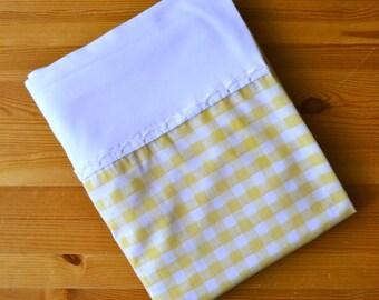 Vintage Yellow Checkered Twin Flat Sheet