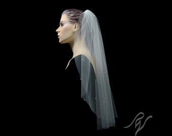 Bridal Wedding Veil with Scattered Pearls, Made With SWAROVSKI ELEMENTS
