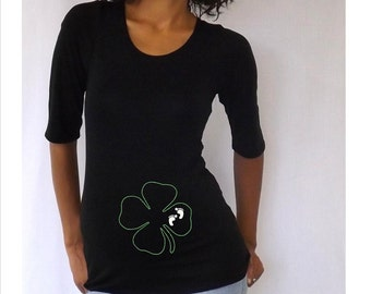 Maternity Shirt embellished with clover and footprints Perfect for St Patrick's day