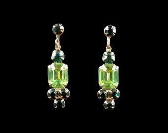 Vintage Two-Tone Green Rhinestone Drop Earrings