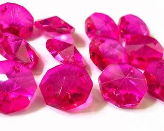 50 Fuchsia 14mm Octagon Chandelier Crystal Beads Prisms