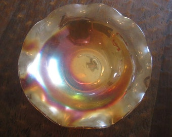 Amber Carnival Glass Bowl, Iridescent Glass Bowl