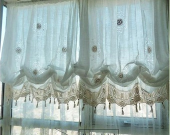 Sale Shabby Chic Drawnwork Balloon Curtain Pull Up Hand Crochet Lace