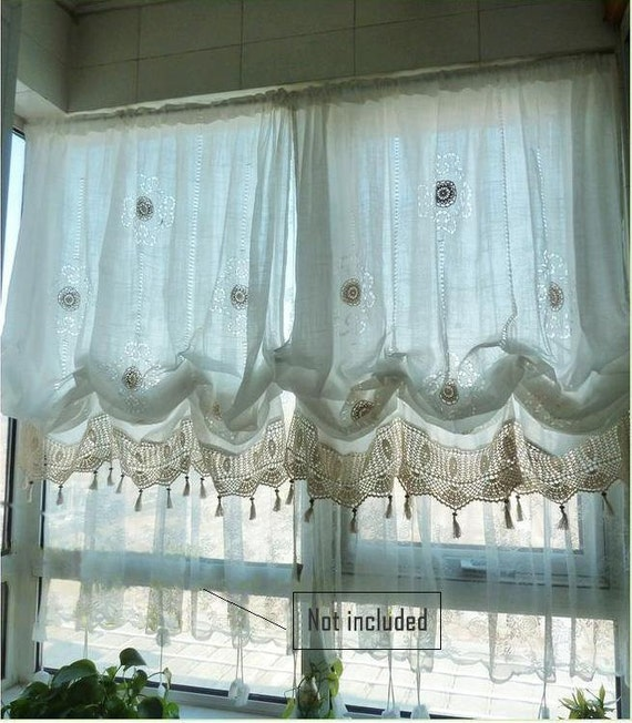sale shabby chic drawnwork balloon curtain pull up curtain