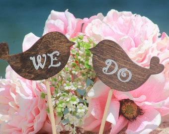 WE DO Lovebirds Cake Topper - Cupcake Topper - Personalized Wedding - Beach wedding - Bride and Groom - Country Chic Wedding