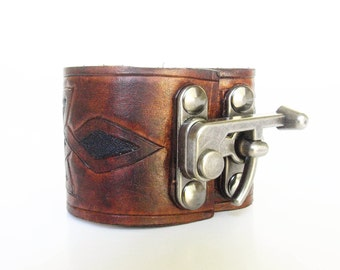 Steampunk Leather Wristband Celtic knot Cuff
