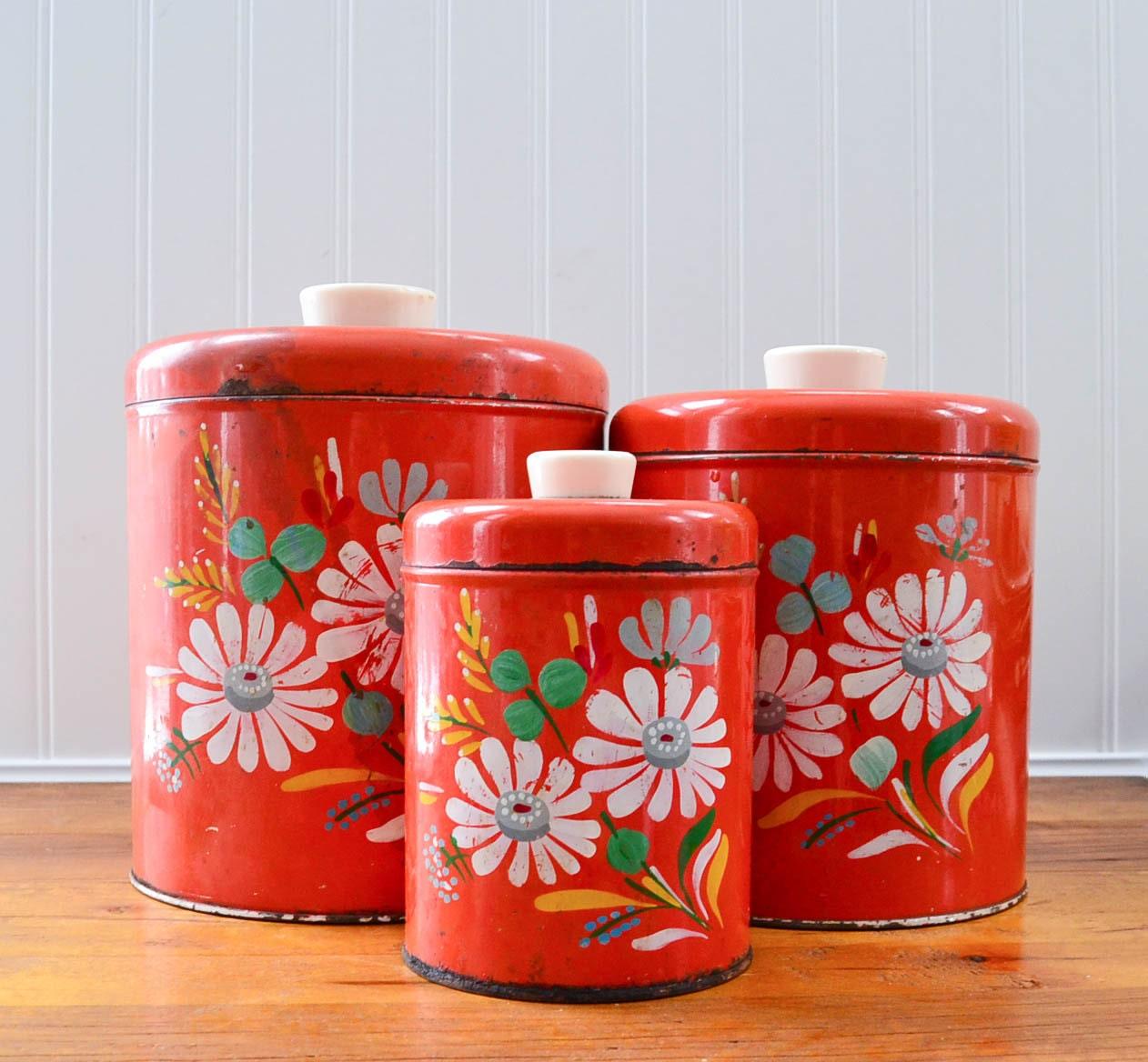 Vintage Ransburg Canister Set 3 Red Painted Flower Kitchen