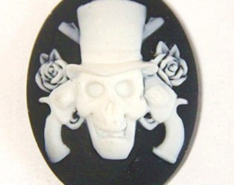 12 pcs of resin skull cameo 30x40mm-RC0157-white on black