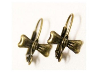 12 pcs/6 pairs of brass butterfly earing hook-18x13mm-M4503-antique bronze