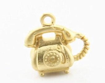 6 pcs of 3D telephone charm pendant 12x15mm-1904-matte gold