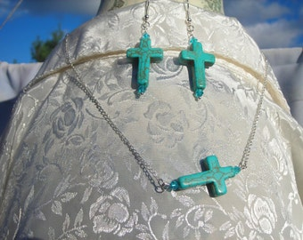 fx TURQUOISE CROSS with ocean blue swarovski crystal beads and delicate silver plated chain & its matched earrings