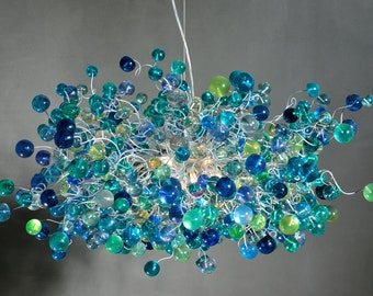 Sea color bubbles Hanging chandeliers - light fixture for dinning room, living room or open space.