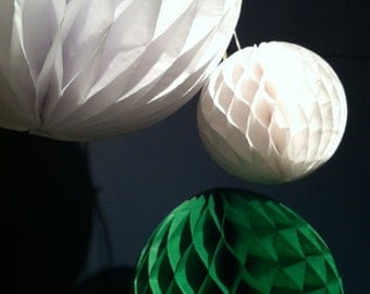 Trio of Honeycomb tissue paper balls - assorted colours. Wedding Party Decoration