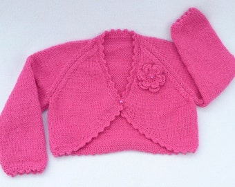 Baby girl hand knitted raspberry pink baby bolero cardigan to fit 6 to 9 months
