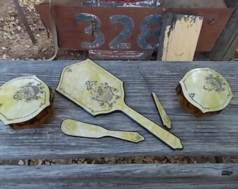 5 Piece 40s Dresser Set w/Amber Glass