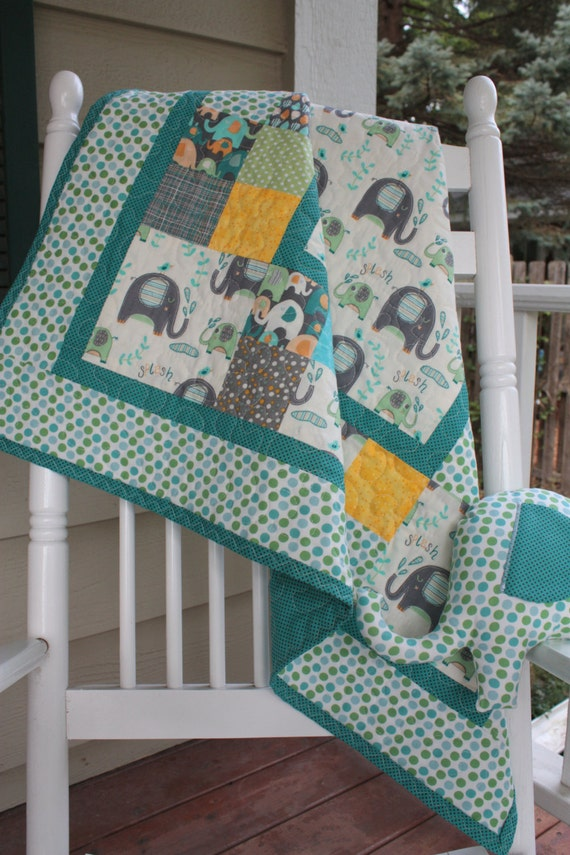 Baby Elephant Splash Boy Or Girl Quilt With Stuffed Elephant