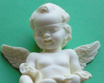 Carved Cherub / Angel Wall Hanging - Blindfolded Holding a Horn of Plenty - Made in Italy