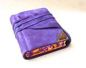 Leather Journal, Handbound Blank Book, Purple Suede, Brass Corner, Painted Edges, Endpaper