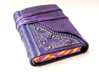 Leather Journal, Sketchbook, Hand Bound Blank Book, Purple Leather,Sculpted Relief, Painted Edges, Gilding, Gift For Her
