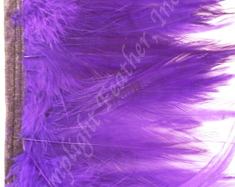 Rooster hackle trim, Purple on bias tape, per 5 yards