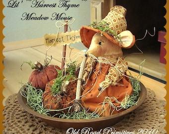 Primitive Mouse Pattern Lil' Harvest Thyme Meadow Mouse n' Pumpkins Halloween ePattern