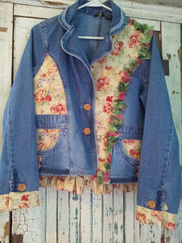 Upcycled Clothing Upcycled Denim Jacket Romanic Western