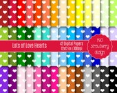 75% OFF Sale - 42 Digital Papers - Lots of Love Hearts - Instant Download - JPG 12x12 (DP132)